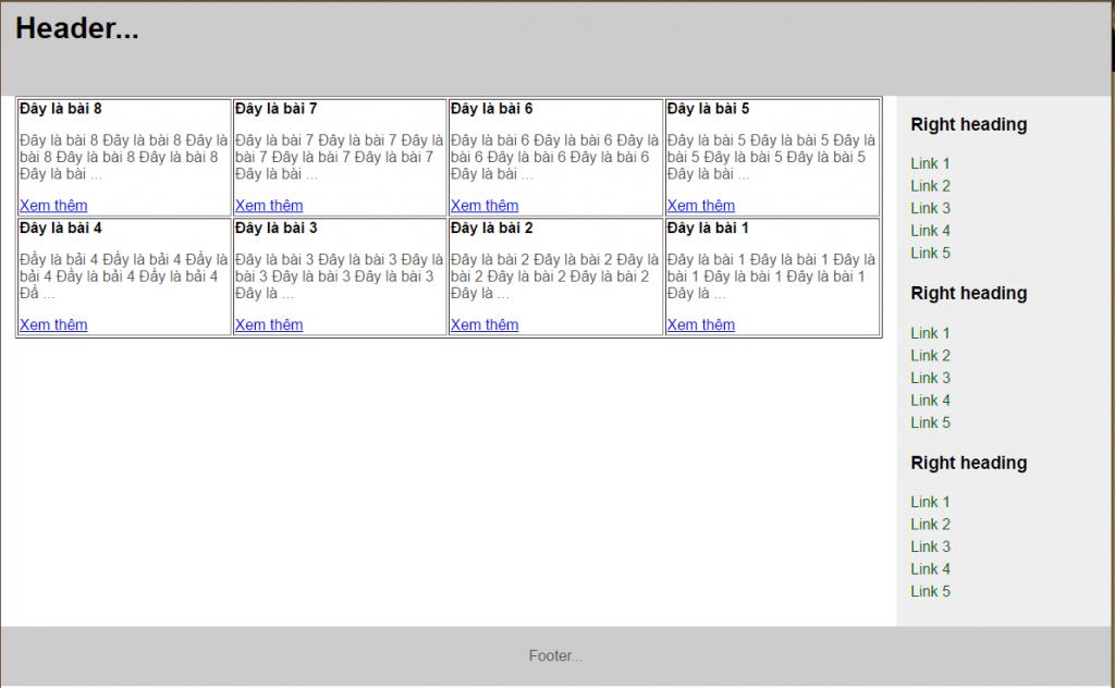 hiển thị danh sách bài viết từ cơ sở dữ liệu
