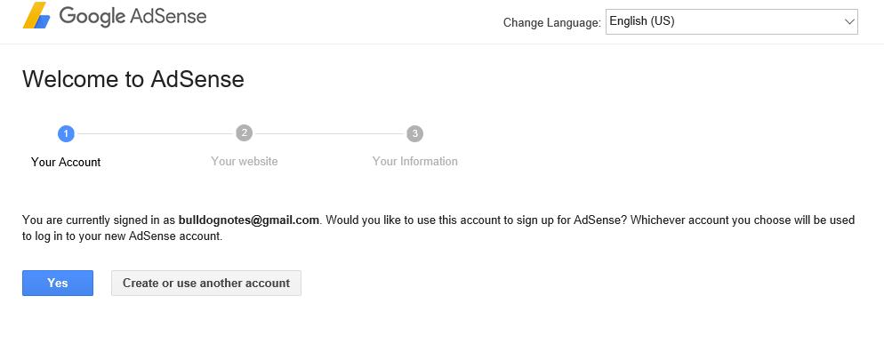 đăng ký google adsense cho website, bước 1