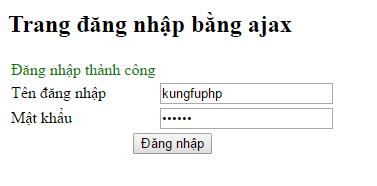 form đăng nhập bằng ajax thành công
