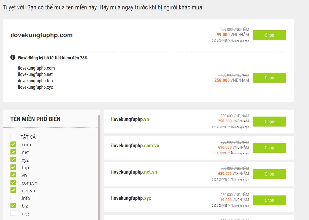 lựa chọn tên miền ứng ý - đăng ký tên miền mắt bão giảm giá
