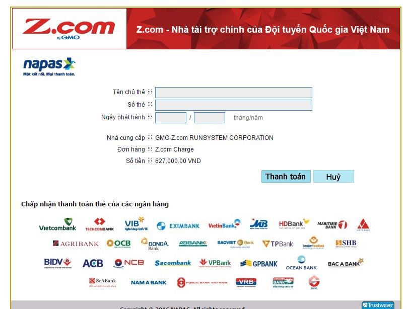 phương thức thanh toán bằng thẻ ngân hàng zcom