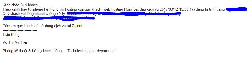 Email thông báo tình trạng hosting - đánh giá chất lượng hosting ZCom