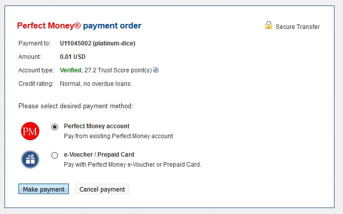 Tùy chọn rút tiền bằng Perfect Money - nạp và rút tiền trong Game Platinum
