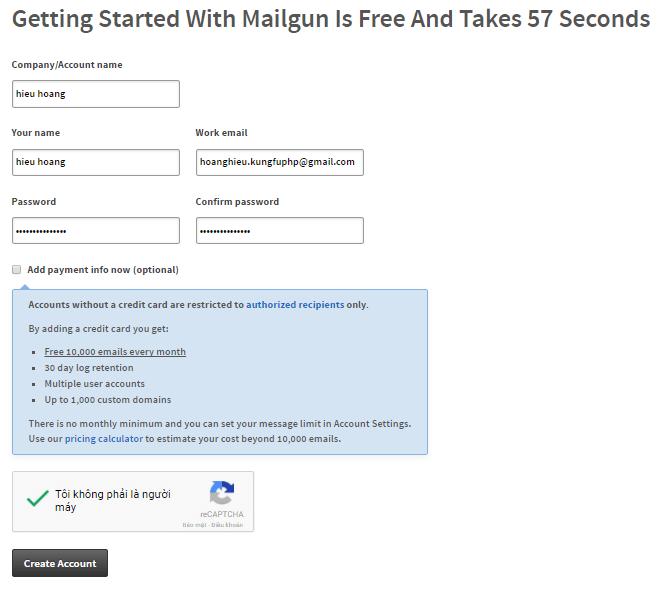 Thông tin đăng ký mailgun