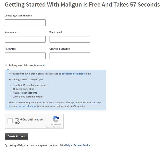 Đăng ký tài khoản Mailgun