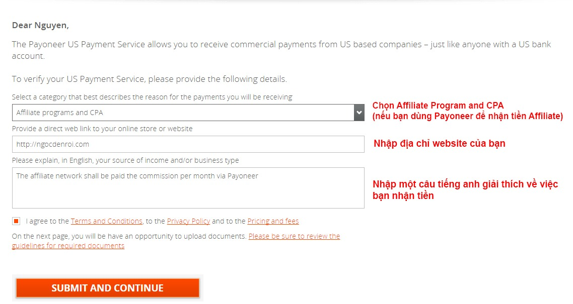 Tiến hành điền thông tin payment