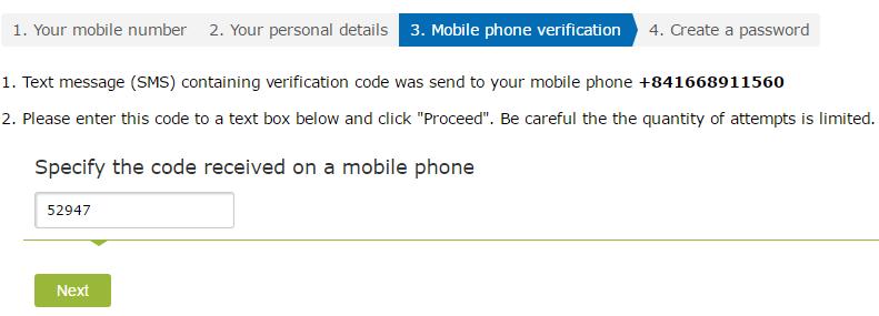 Điền mã xác nhận số điện thoại WebMoney - Hướng dẫn đăng ký WebMoney