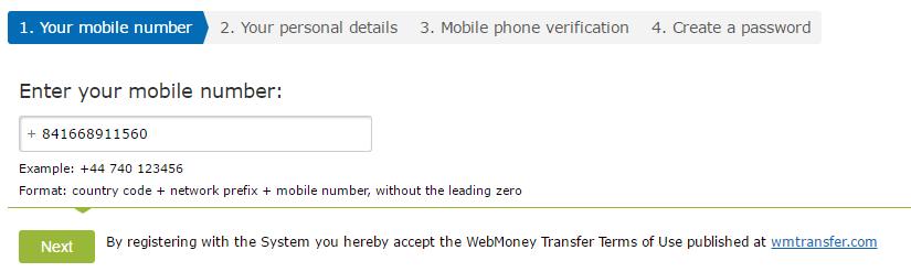 Điền số điện thoại đăng ký WebMoney - Hướng dẫn đăng ký WebMoney