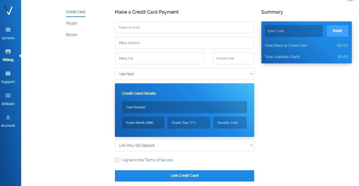 Điền thông tin thanh toán VPS Vultr