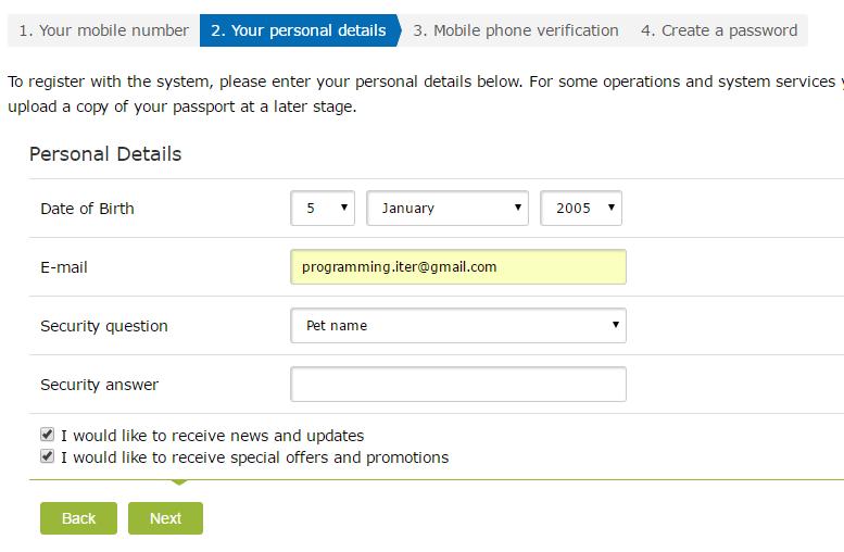 Điền thông tin cá nhân đăng ký WebMoney - Hướng dẫn đăng ký WebMoney