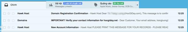 Email thông báo đăng ký hawhost thành công