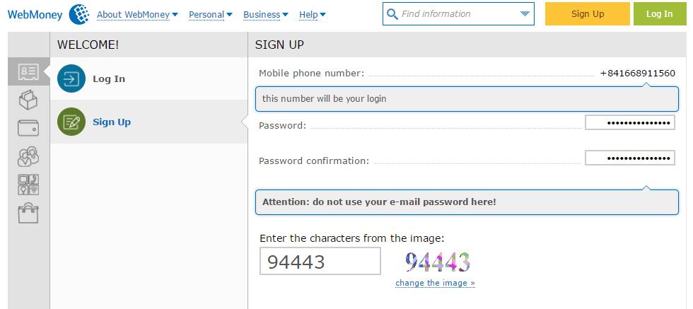 Tạo mật khẩu WebMoney - Hướng dẫn đăng ký WebMoney