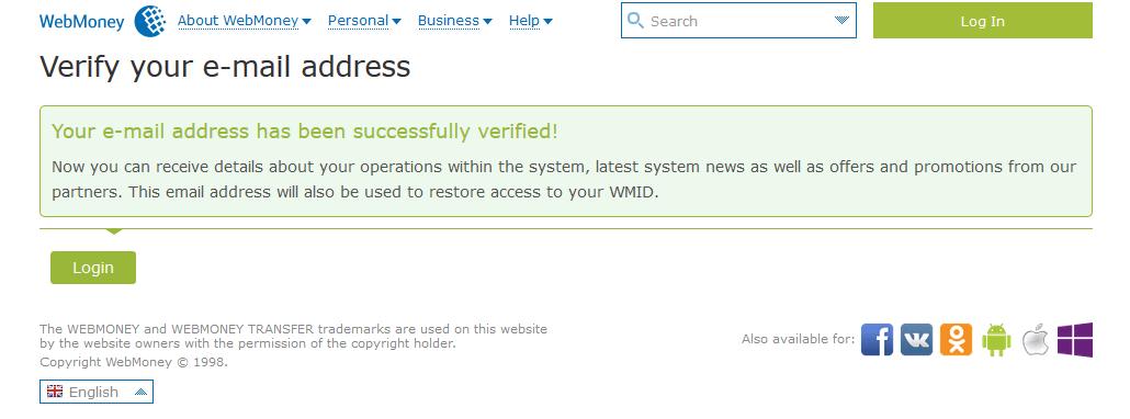 Xác nhận email thành công - Hướng dẫn đăng ký WebMoney