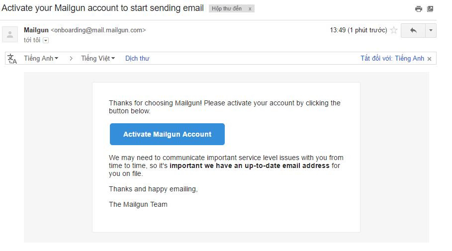 Xác nhận email Mailgun