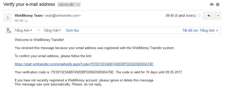 Xác thực email - Hướng dẫn đăng ký WebMoney