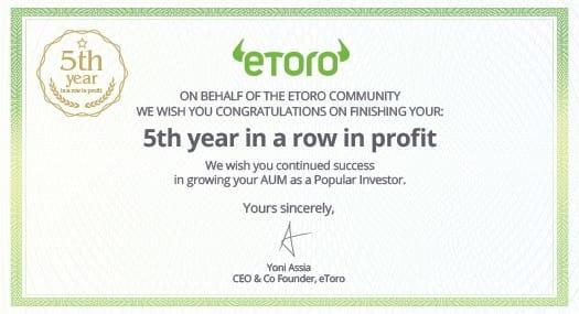 Giấy chứng nhận 5 năm lợi nhuận tốt của Etoro