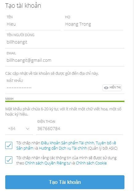 đăng ký tài khoản Etoro