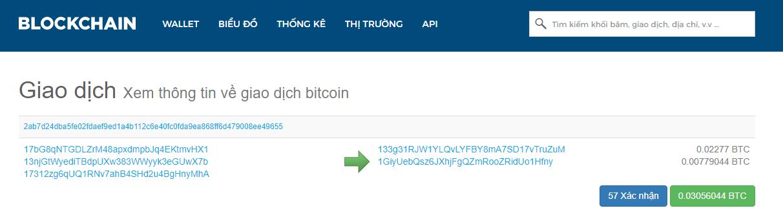 Hình 4 : Transaction xác nhận bởi blockchain