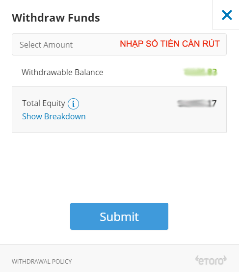 Rút tiền etoro thông qua PayPal