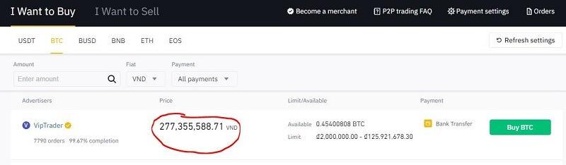 Giá Bitcoin trên sàn Binance P2P