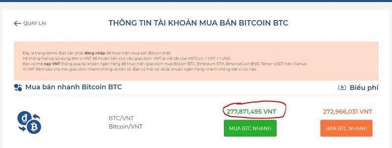 Giá Bitcoin trên sàn Fiahub