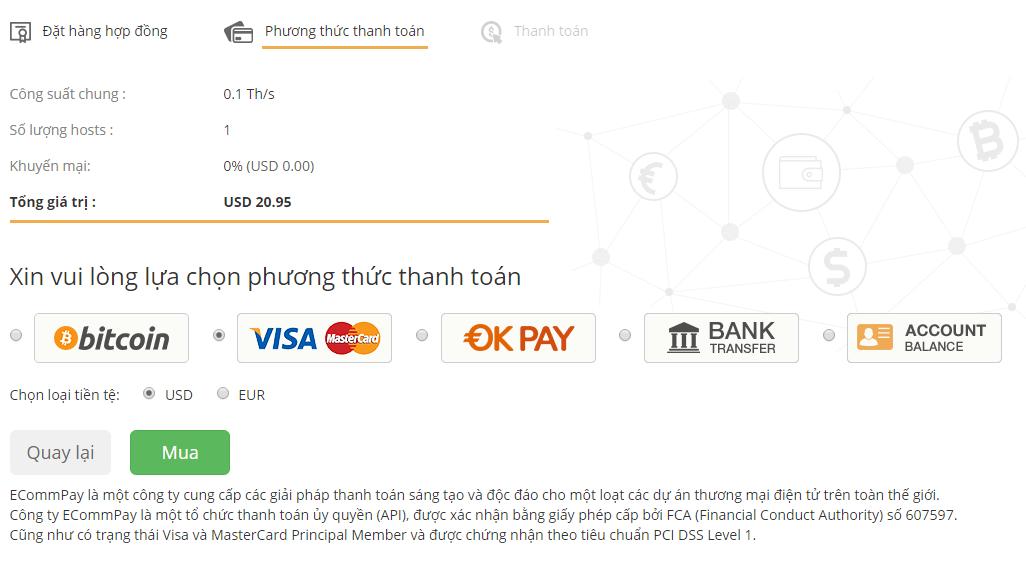 Chọn phương thức thanh toán hợp đồng Bitcoin, visa,....