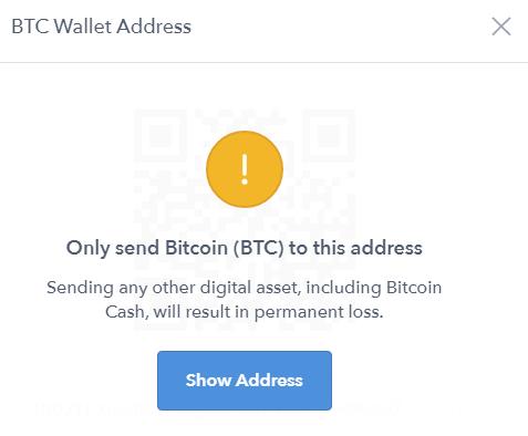 Hiển thị ví Bitcoin