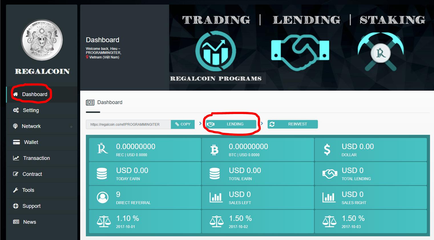 Tiến hành Lending RegalCoin