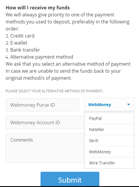 Rút tiền etoro - Chọn phương thức rút tiền, ở đây mình chọn rút về WebMoney