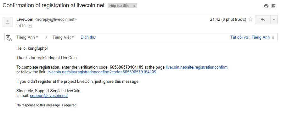 Email xác nhận tài khoản Livecoin