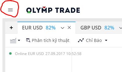Chọn biểu tượng 3 gach ngang - Hướng dẫn nạp tiền vào tài khoản Olymp Trade