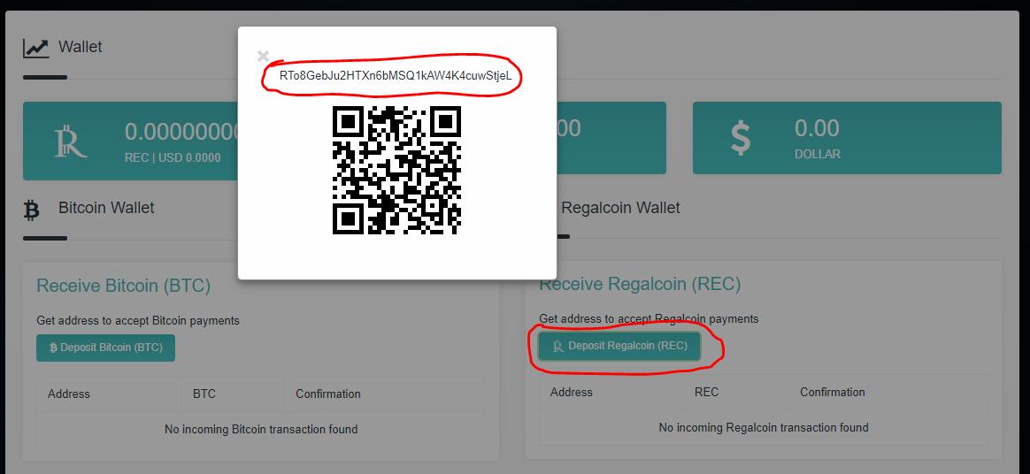 Lấy địa chỉ ví RegalCoin