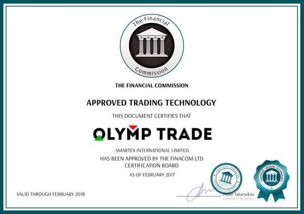 Giấy chứng nhận Olymp Trade được xác thực bởi tổ chức FINACOM
