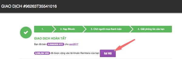 Kết thúc giao dịch gửi Bitcoin remitano