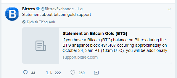 Thông báo hỗ trợ Bitcoin Gold của Bittrex