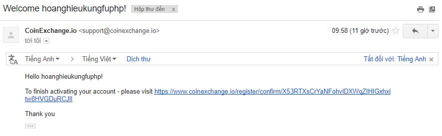 Email xác nhận tài khoản CoinExchange