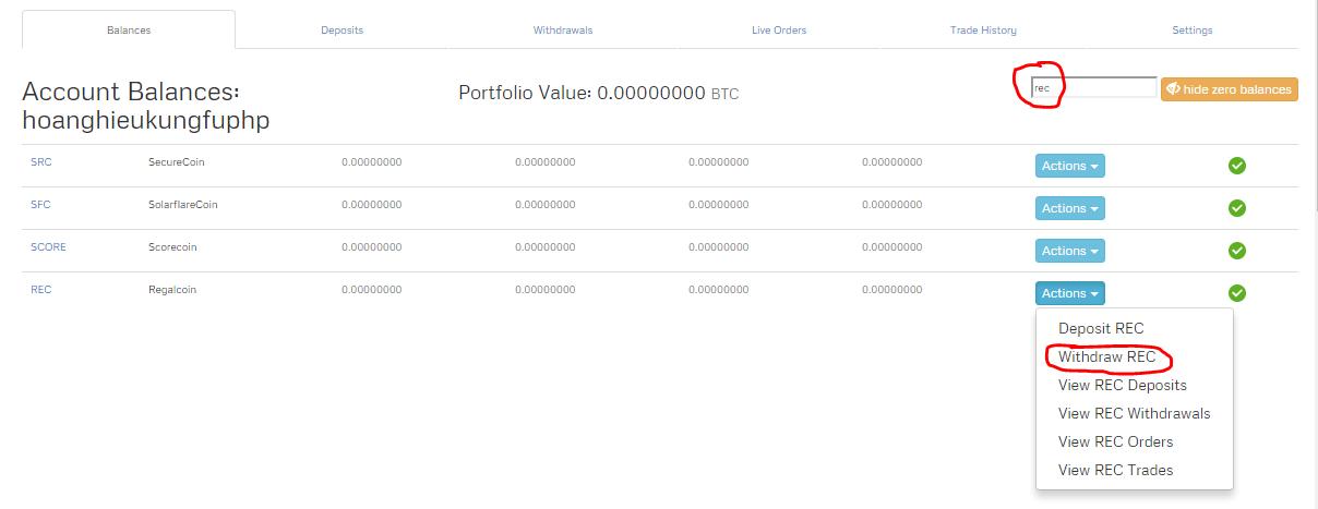 Rút coin ra khỏi ví coinexchange