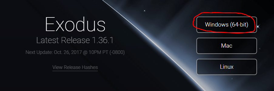 Hướng dẫn sử dụng Exodus - Tải bản exodus window 64 bit