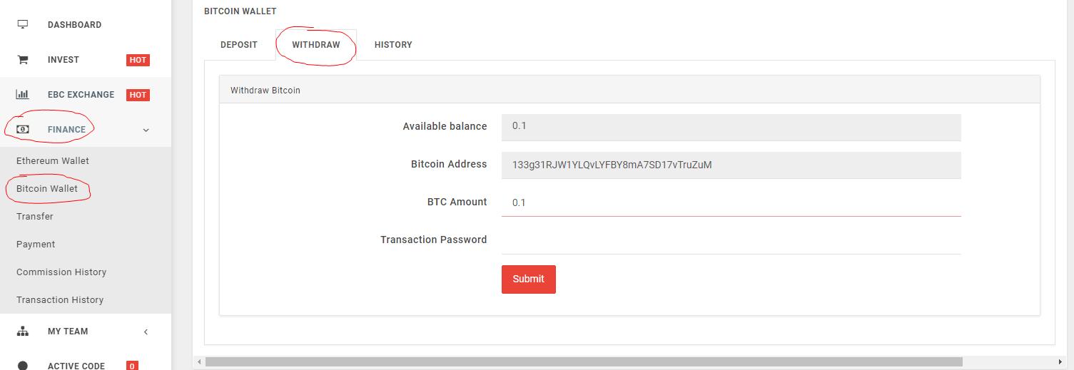 Điền các thông số rút tiền Bitcoin Etherbanking