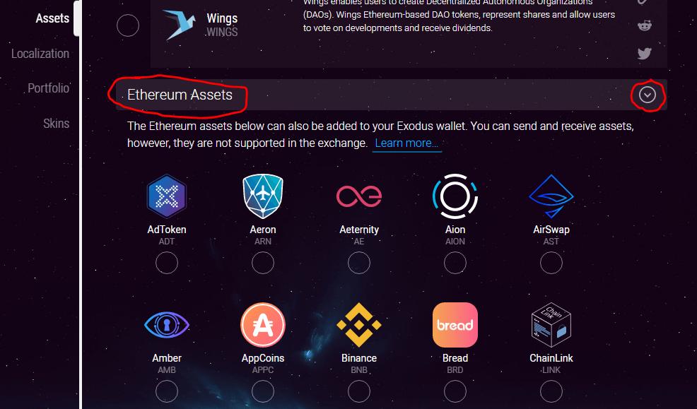 Cài đặt Ethereum Assets trên Exodus