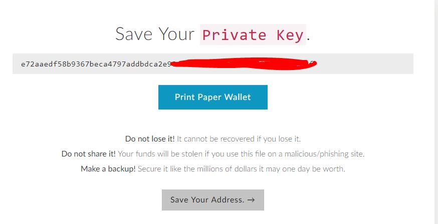 Lưu lại Private Key