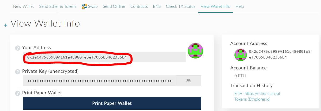 Địa chỉ ví Ethereum của bạn trên MyEtherWallet