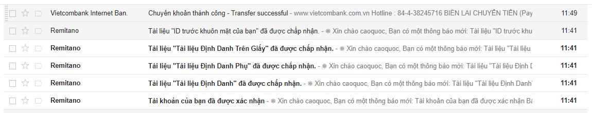Danh sách email thông báo xác thưc tài khoản remitano thành công