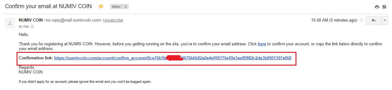 Xác thực địa chỉ email Numiv