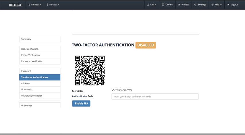 Trang xác thực 2 yếu tố của Bittrex