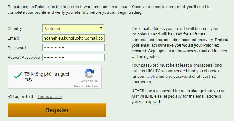 Đăng ký tài khoản sàn Poloniex