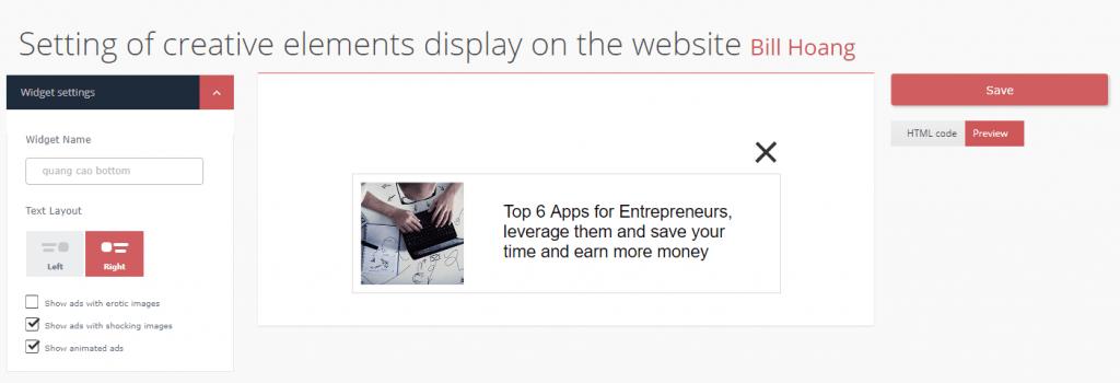 Thiết lập thông số quảng cho giao diện quảng cáo