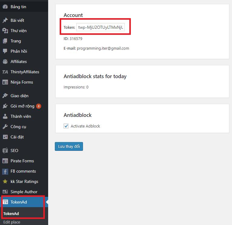 Điền mã Token vào ô Token