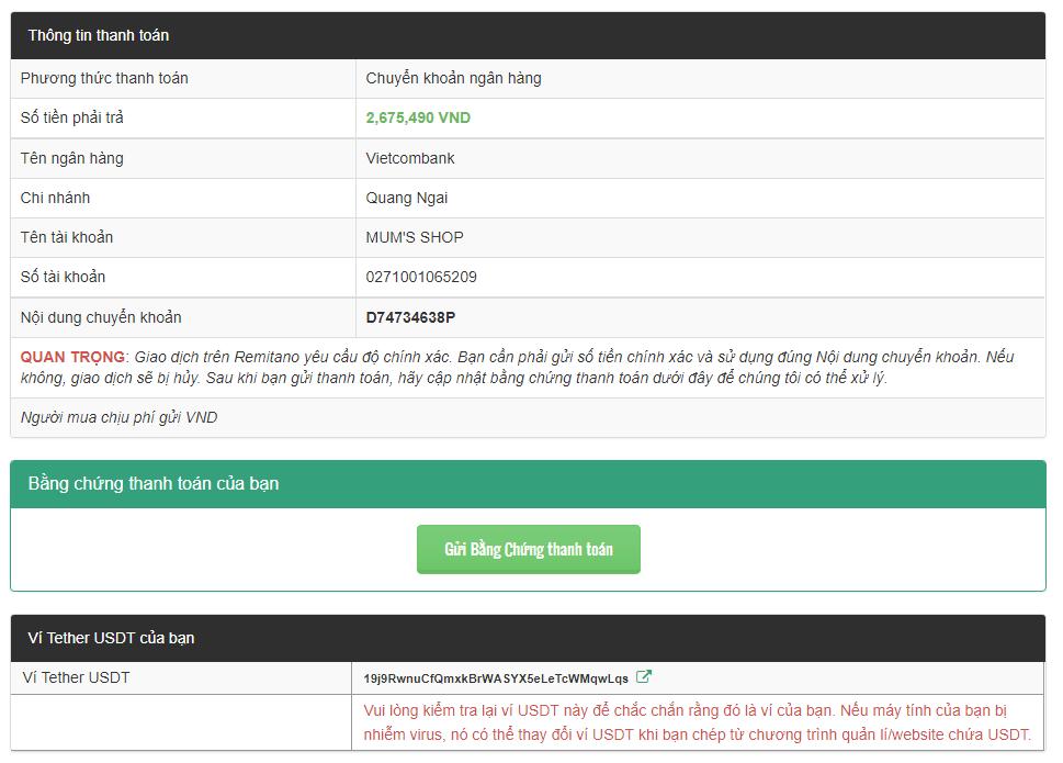 Tiến hành chuyển khoản theo thông tin đã cho để mua USDT