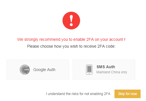 Thiết lập 2FA cho tài khoản binance
